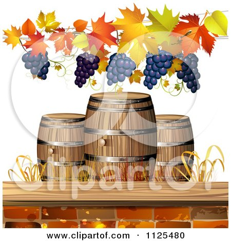 Clipart Of An Autumn Wine Barrel Leaf And Grapes Background 3 - Royalty Free Vector Illustration by merlinul