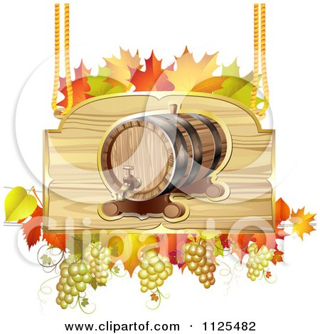 Clipart Of An Autumn Wine Barrel Grapes And Leaf Sign - Royalty Free Vector Illustration by merlinul