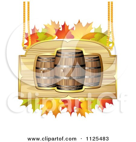 Clipart Of An Autumn Wine Barrel And Leaf Sign 3 - Royalty Free Vector Illustration by merlinul