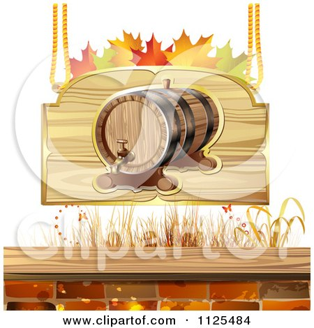 Clipart Of An Autumn Wine Barrel And Leaf Sign 2 - Royalty Free Vector Illustration by merlinul