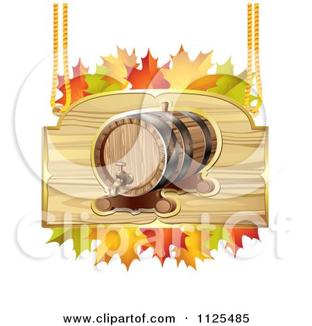 Clipart Of An Autumn Wine Barrel And Leaf Sign 1 - Royalty Free Vector Illustration by merlinul