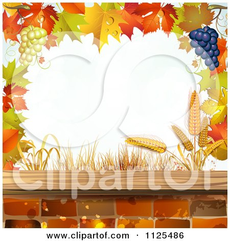 Clipart Of A Background Of Autumn Leaves Grapes Bricks And Wheat 1 - Royalty Free Vector Illustration by merlinul