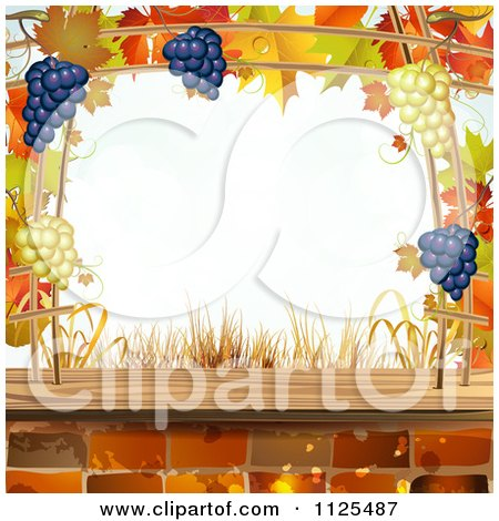 Clipart Of A Background Of Autumn Leaves Grapes Bricks - Royalty Free Vector Illustration by merlinul