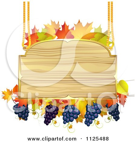 Clipart Of A Wooden Sign With Grapes Autumn Maple Leaves - Royalty Free Vector Illustration by merlinul