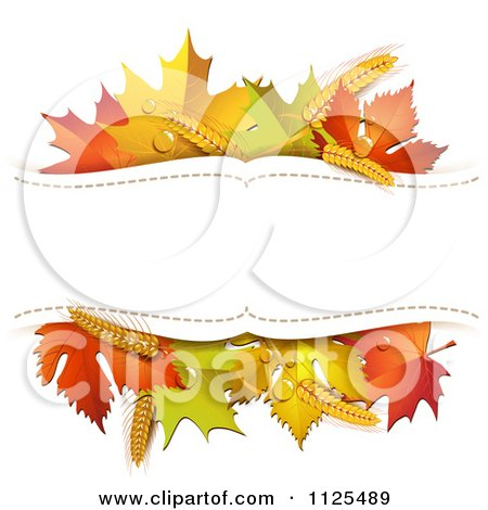 Clipart Of A Background With Autumn Maple Leaves Wheat And Copyspace - Royalty Free Vector Illustration by merlinul