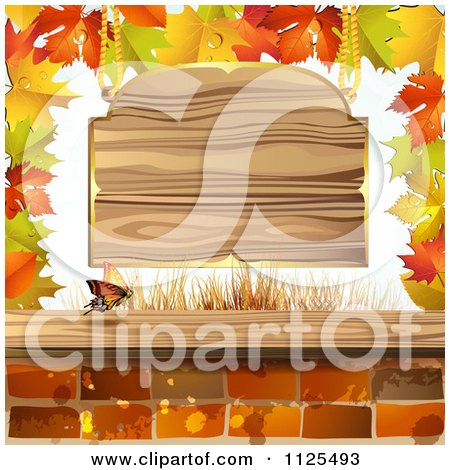 Clipart Of Autumn Maple Leaves A Butterfly Bricks And Wood Sign - Royalty Free Vector Illustration by merlinul