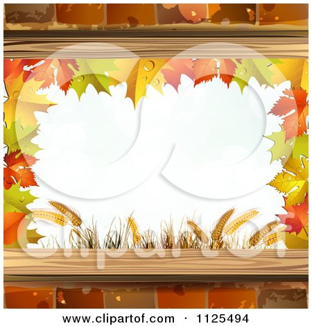 Clipart Of A Background With Autumn Maple Leaves Wheat And Bricks Framing Copyspace - Royalty Free Vector Illustration by merlinul