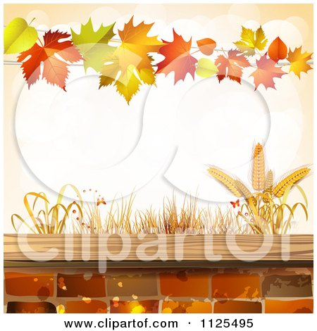 Clipart Of A Background Of Wheat Autumn Leaves And Bricks - Royalty Free Vector Illustration by merlinul