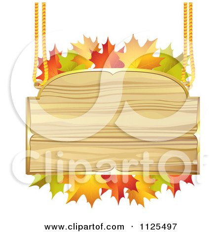 Clipart Of A Wooden Sign With Autumn Maple Leaves - Royalty Free Vector Illustration by merlinul