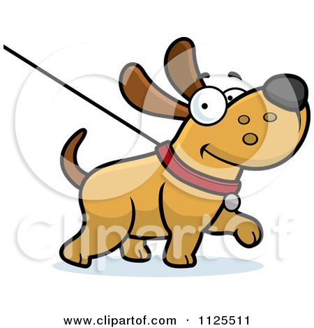 Cartoon Of A Happy Dog Being Washed On A Leash - Royalty Free Vector Clipart by Cory Thoman