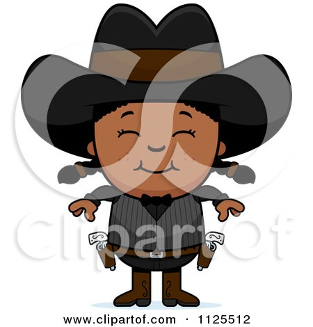 Cartoon Of A Happy Black Gunslinger Girl - Royalty Free Vector Clipart by Cory Thoman