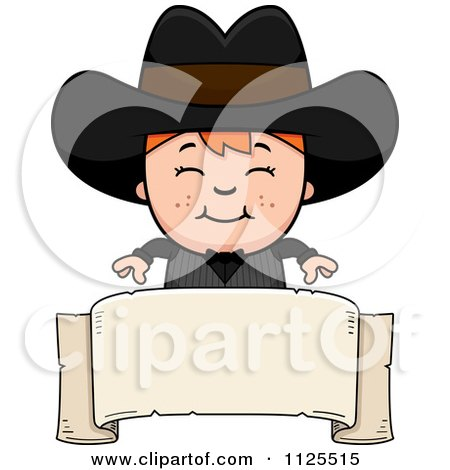 Cartoon Of A Happy Red Haired Gunslinger Boy Over A Banner - Royalty Free Vector Clipart by Cory Thoman