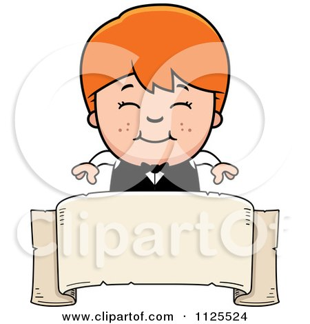 Cartoon Of A Happy Red Haired Waiter Boy Over A Banner - Royalty Free Vector Clipart by Cory Thoman