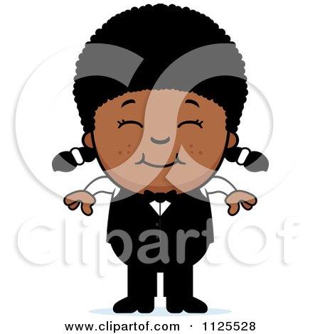 Cartoon Of A Happy Black Waiter Girl - Royalty Free Vector Clipart by Cory Thoman