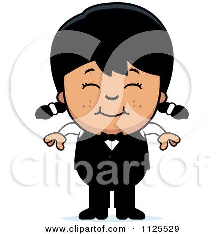 Cartoon Of A Happy Asian Waiter Girl - Royalty Free Vector Clipart by Cory Thoman