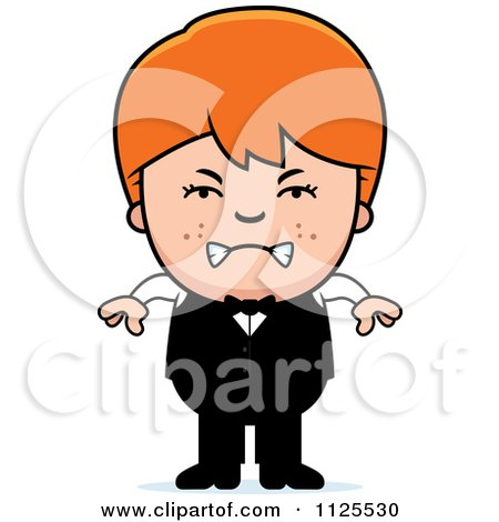 Cartoon Of An Angry Red Haired Waiter Boy - Royalty Free Vector Clipart by Cory Thoman
