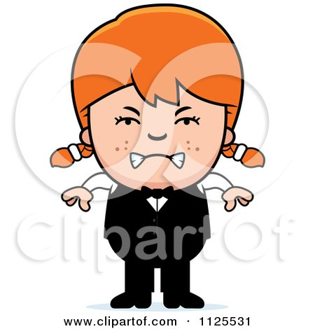 Cartoon Of An Angry Red Haired Waiter Girl - Royalty Free Vector Clipart by Cory Thoman