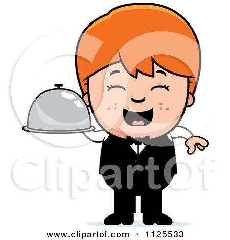 Cartoon Of A Happy Red Haired Waiter Boy Carrying A Platter - Royalty Free Vector Clipart by Cory Thoman