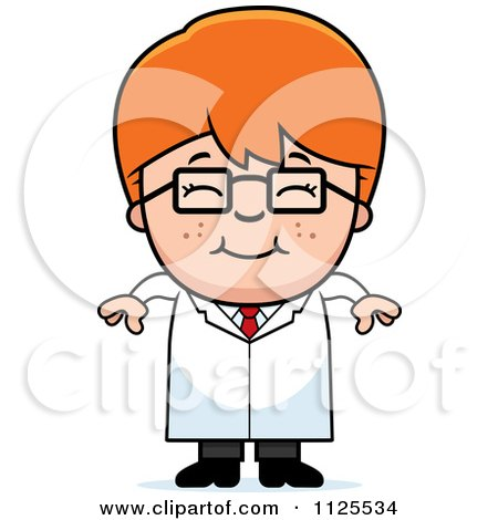 Cartoon Of A Happy Red Haired Scientist Boy - Royalty Free Vector Clipart by Cory Thoman