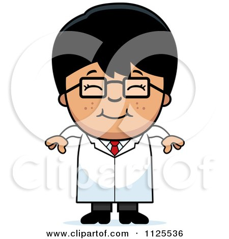 Cartoon Of A Happy Asian Scientist Boy - Royalty Free Vector Clipart by Cory Thoman