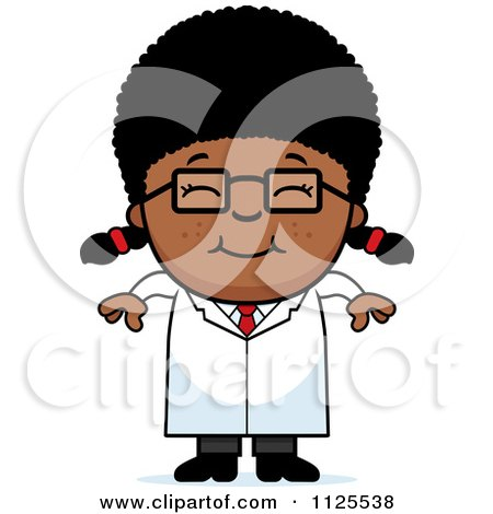 Cartoon Of A Happy Black Scientist Girl - Royalty Free Vector Clipart by Cory Thoman