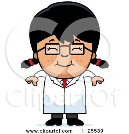 Cartoon Of A Happy Asian Scientist Girl - Royalty Free Vector Clipart by Cory Thoman