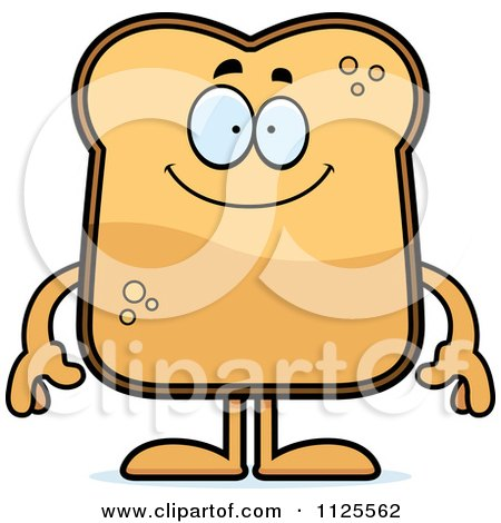 Cartoon Of A Happy Toast Mascot - Royalty Free Vector Clipart by Cory Thoman
