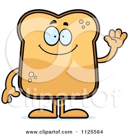 Cartoon Of A Waving Toast Mascot - Royalty Free Vector Clipart by Cory Thoman