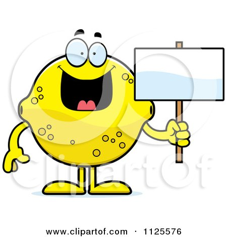 Cartoon Of A Lemon Mascot Holding A Sign - Royalty Free Vector Clipart by Cory Thoman