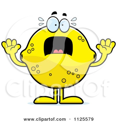 Cartoon Of A Scared Lemon Mascot - Royalty Free Vector Clipart by Cory Thoman