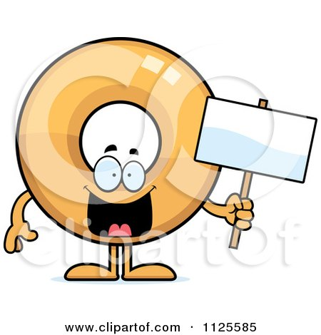Cartoon Of A Donut Mascot Holding A Sign - Royalty Free Vector Clipart by Cory Thoman