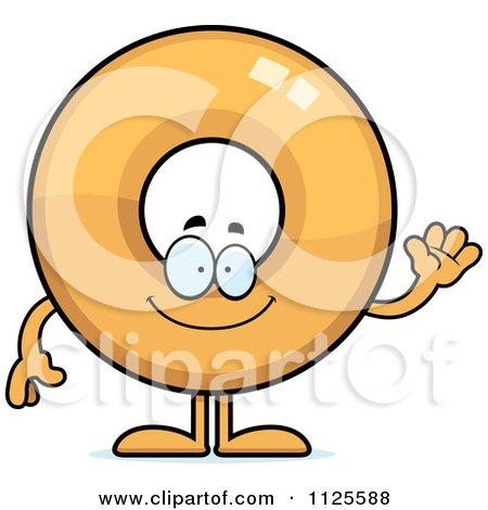 Cartoon Of A Waving Donut Mascot - Royalty Free Vector Clipart by Cory Thoman