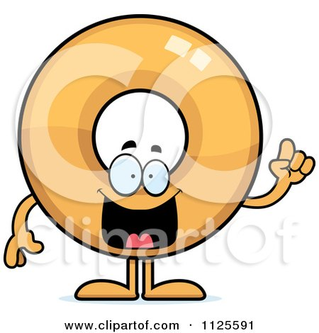 Cartoon Of A Donut Mascot With An Idea - Royalty Free Vector Clipart by Cory Thoman