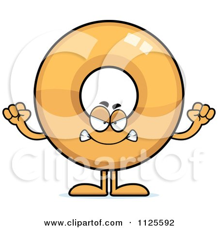 Cartoon Of An Angry Donut Mascot - Royalty Free Vector Clipart by Cory Thoman