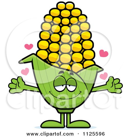 Cartoon Of A Loving Corn Mascot With Open Arms - Royalty Free Vector Clipart by Cory Thoman