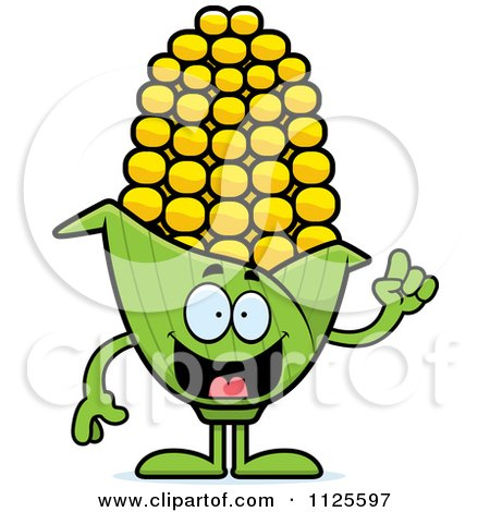 Cartoon Of A Corn Mascot With An Idea - Royalty Free Vector Clipart by Cory Thoman