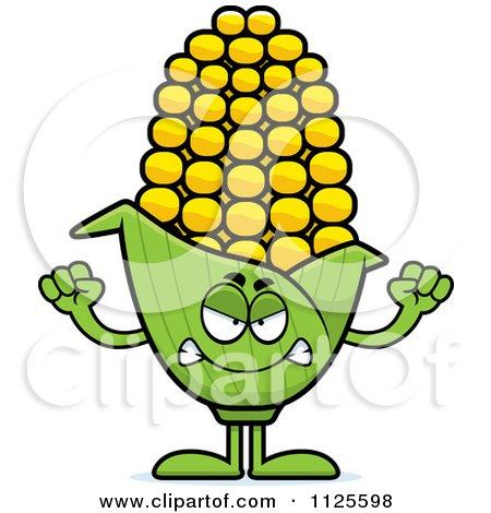 Cartoon Of An Angry Corn Mascot - Royalty Free Vector Clipart by Cory Thoman
