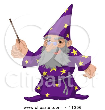 Old Male Warlock Wizard Magician in a Purple Cloak With Star Patterns, Holding a Magic Wand Clipart Illustration by AtStockIllustration
