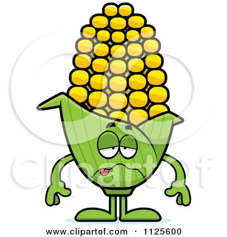 Cartoon Of A Sick Corn Mascot - Royalty Free Vector Clipart by Cory Thoman