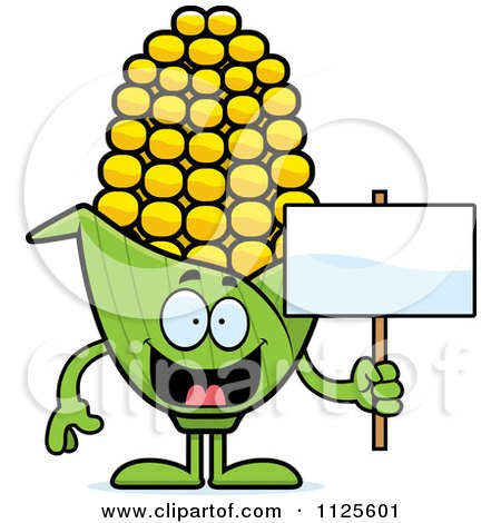 Cartoon Of A Corn Mascot Holding A Sign - Royalty Free Vector Clipart by Cory Thoman