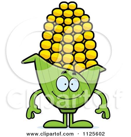 Cartoon Of A Happy Corn Mascot - Royalty Free Vector Clipart by Cory Thoman