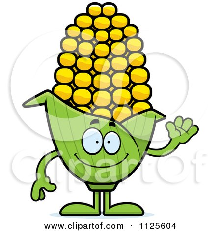 Cartoon Of A Waving Corn Mascot - Royalty Free Vector Clipart by Cory Thoman