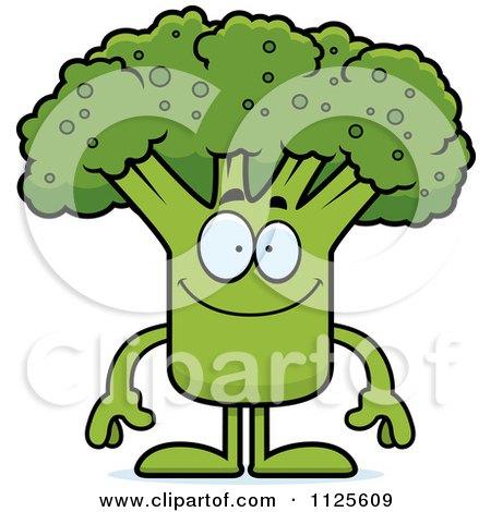 Cartoon Of A Happy Broccoli Mascot - Royalty Free Vector Clipart by Cory Thoman