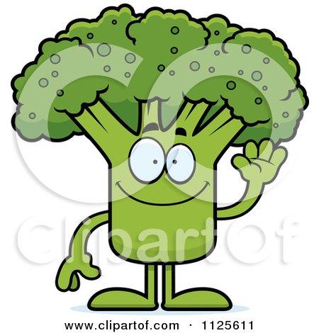 Cartoon Of A Waving Broccoli Mascot - Royalty Free Vector Clipart by Cory Thoman