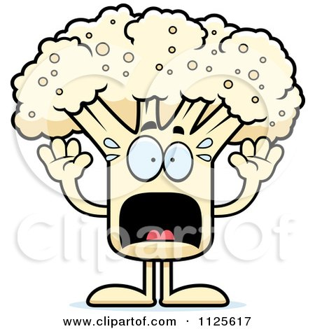 Cartoon Of A Scared Cauliflower Mascot - Royalty Free Vector Clipart by Cory Thoman