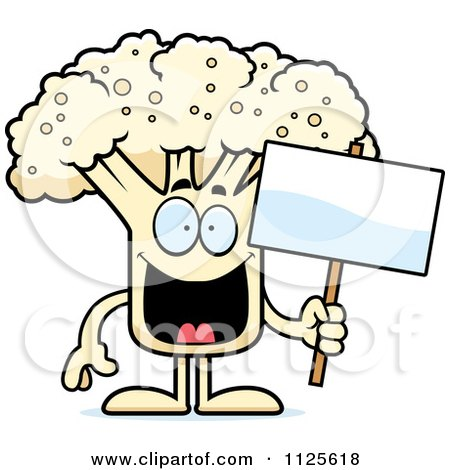 Cartoon Of A Cauliflower Mascot Holding A Sign - Royalty Free Vector Clipart by Cory Thoman