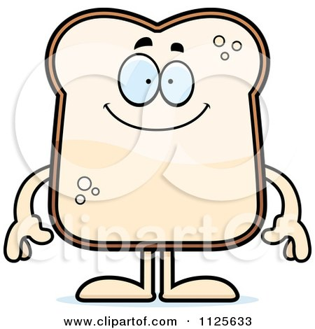 Cartoon Of A Happy Bread Character - Royalty Free Vector Clipart by Cory Thoman