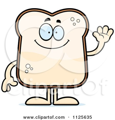 Cartoon Of A Friendly Bread Character Waving - Royalty Free Vector Clipart by Cory Thoman