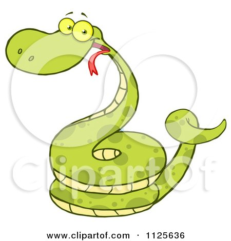 Cartoon Of A Happy Coiled Green Snake - Royalty Free Vector Clipart by Hit Toon
