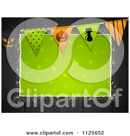 Clipart Of Green Halloween Torn Paper Copyspace On Black Wood With Bunting Flags - Royalty Free Vector Illustration by elaineitalia